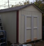 Almost completed storage building.